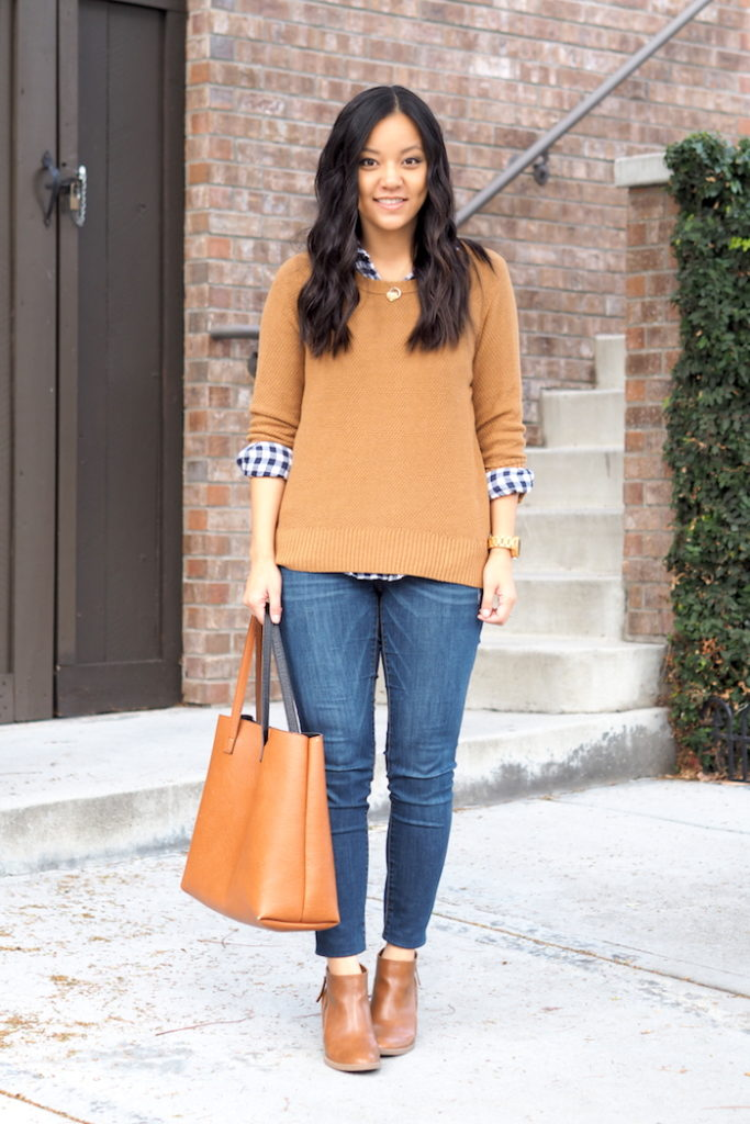 Skinny Jeans + Tan Sweater + Gingham Shirt + Brown Tote