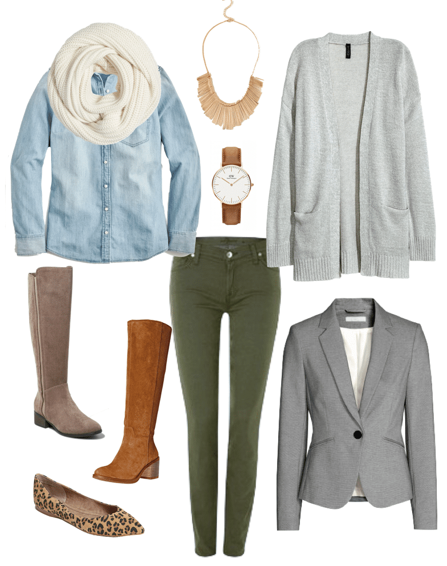 Olive Jeans + Chambray Top + Grey Cardigan Winter Outfit