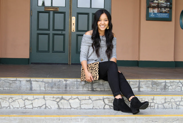 Black Skinnies + Gray Sweater + Leopard Bag + Black Booties