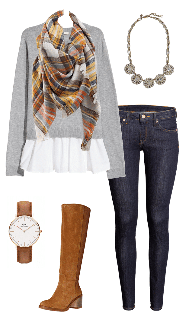 Grey Sweater + Blanket Scarf Winter Outfit