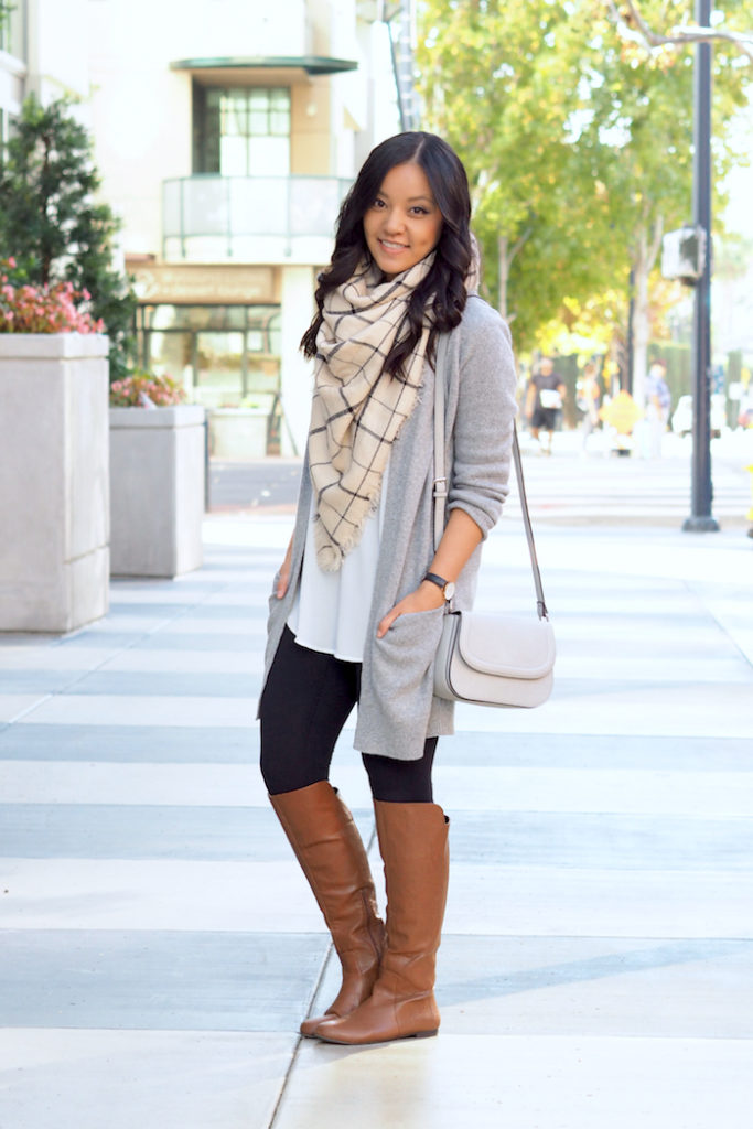 Leggings + cardigan + tunic + blanket scarf