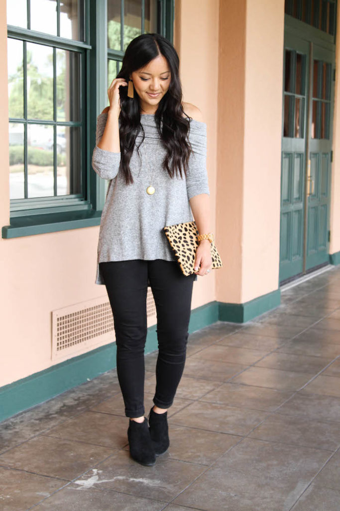 Gray Cowlneck Sweater + Black Skinnies + Black booties + leopard bag