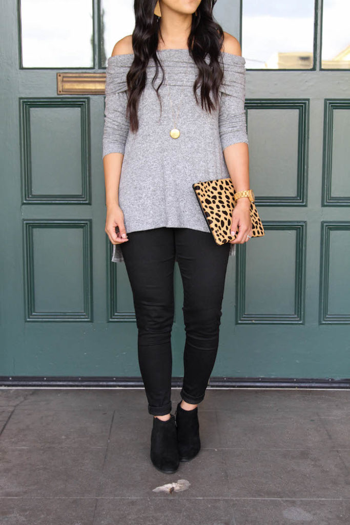 Black Booties + Black Skinnies + Gray Off the Shoulder + Leopard Clutch