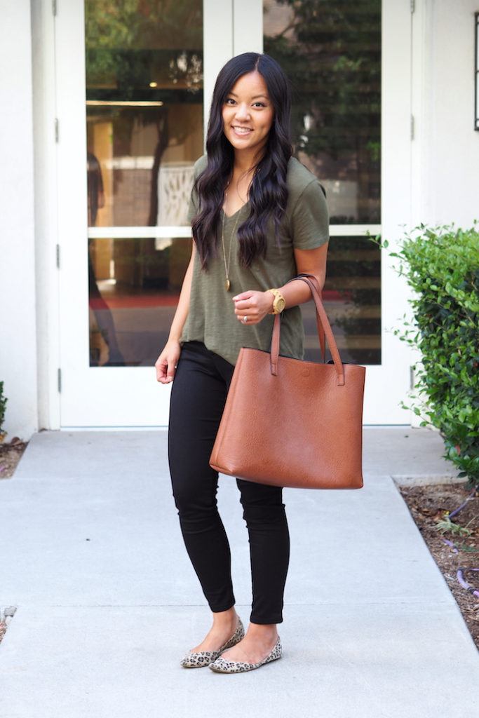 black skinny jeans + brown bag + leopard print flats + olive green shirt