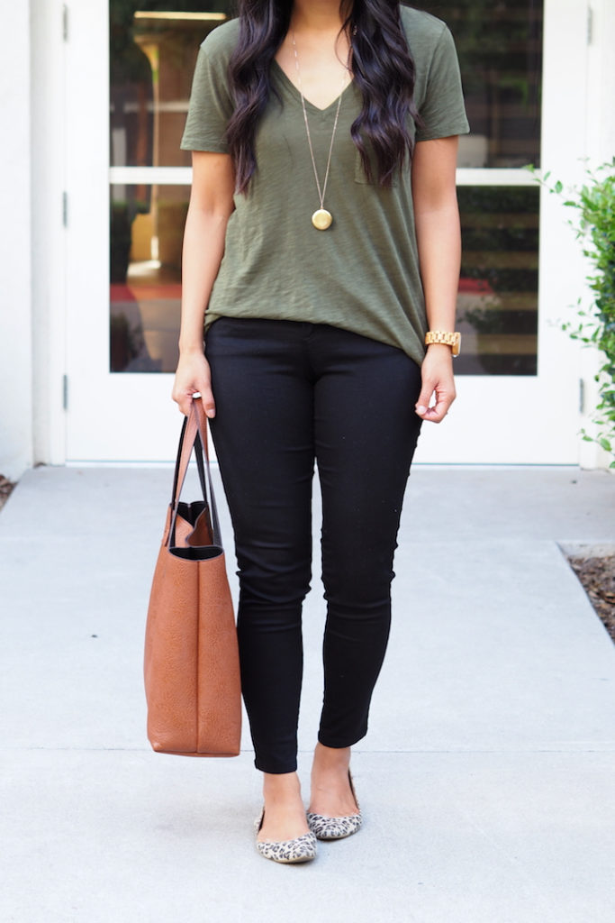 Leopard print flats + olive tee + black skinny jeans + brown bag