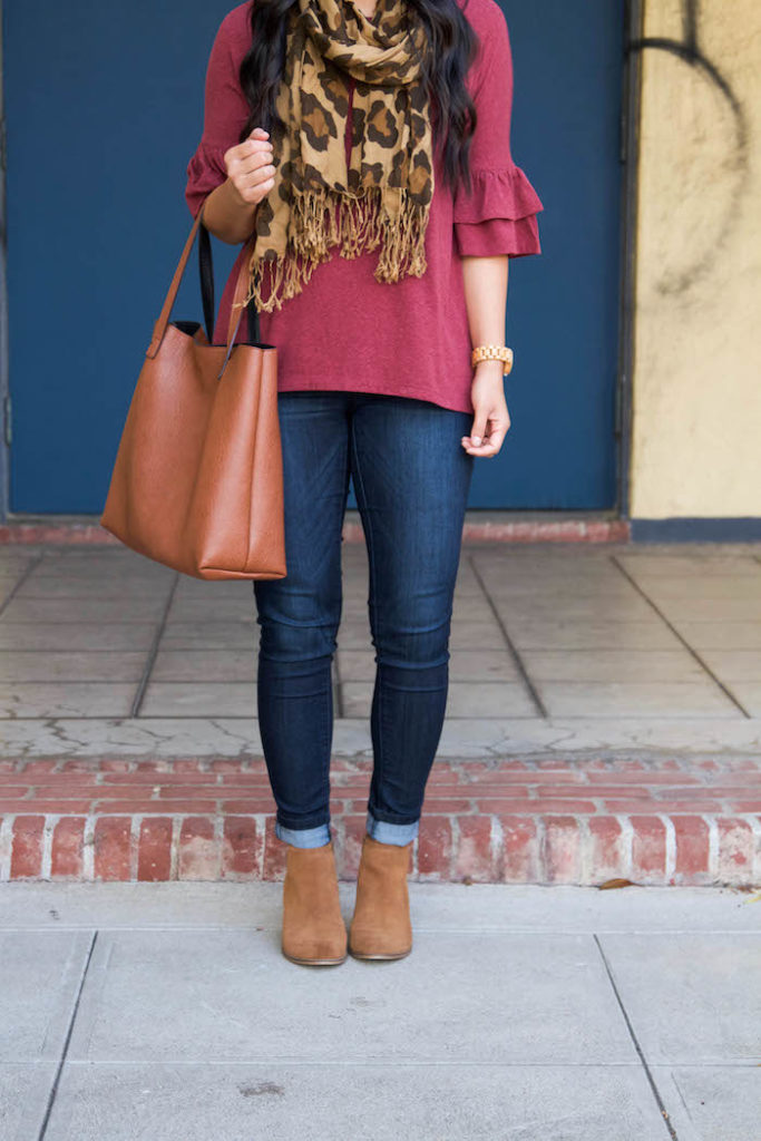 Skinnies + Bell Sleeves Shirt + Leopard Scarf + Tote + Booties