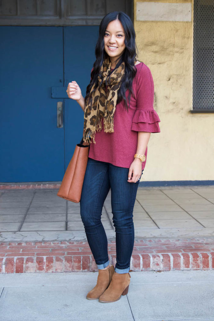 Leopard Scarf + Maroon Bell Sleeve + Skinnies + Brown Booties + Tote
