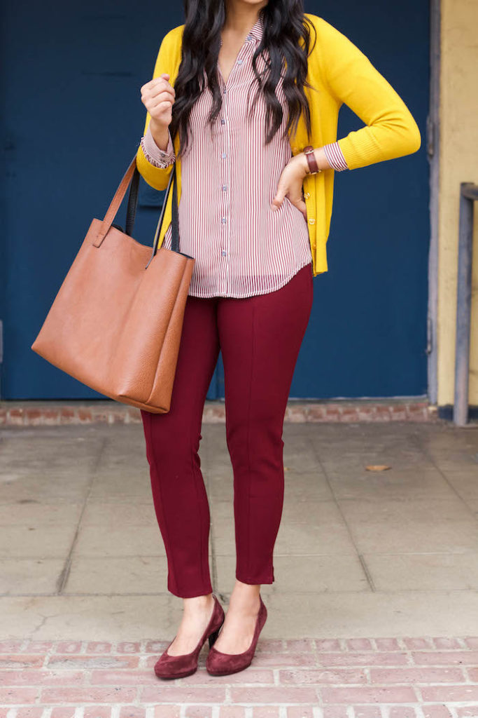 Maroon Pants + Blouse + Yellow Cardigan + Tote