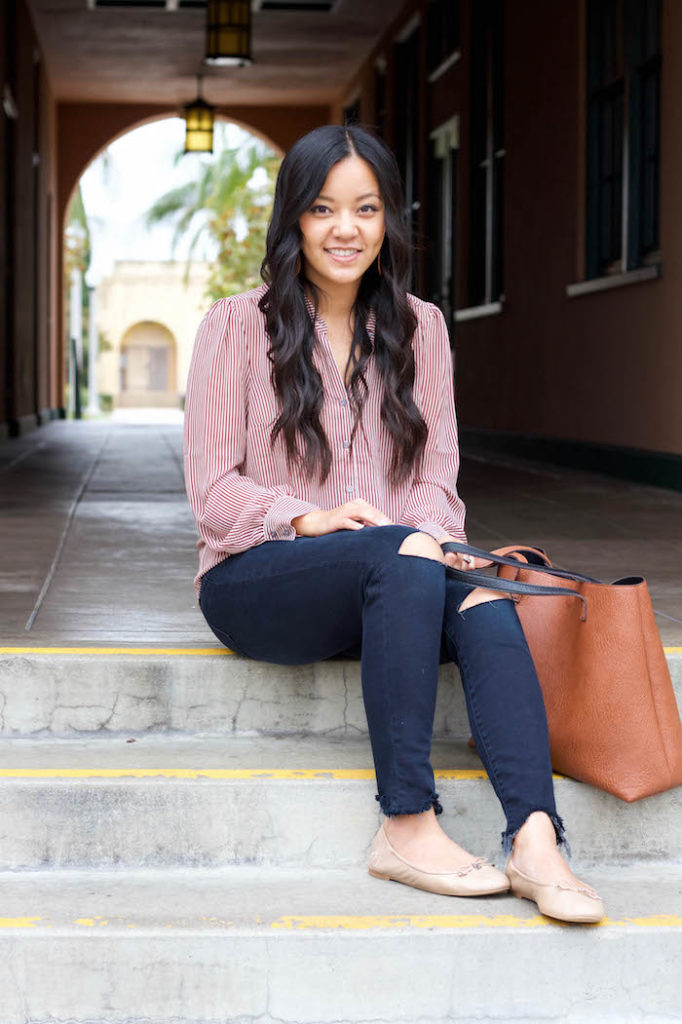 Striped Blouse + Frayed Skinny Jeans + Nude flats
