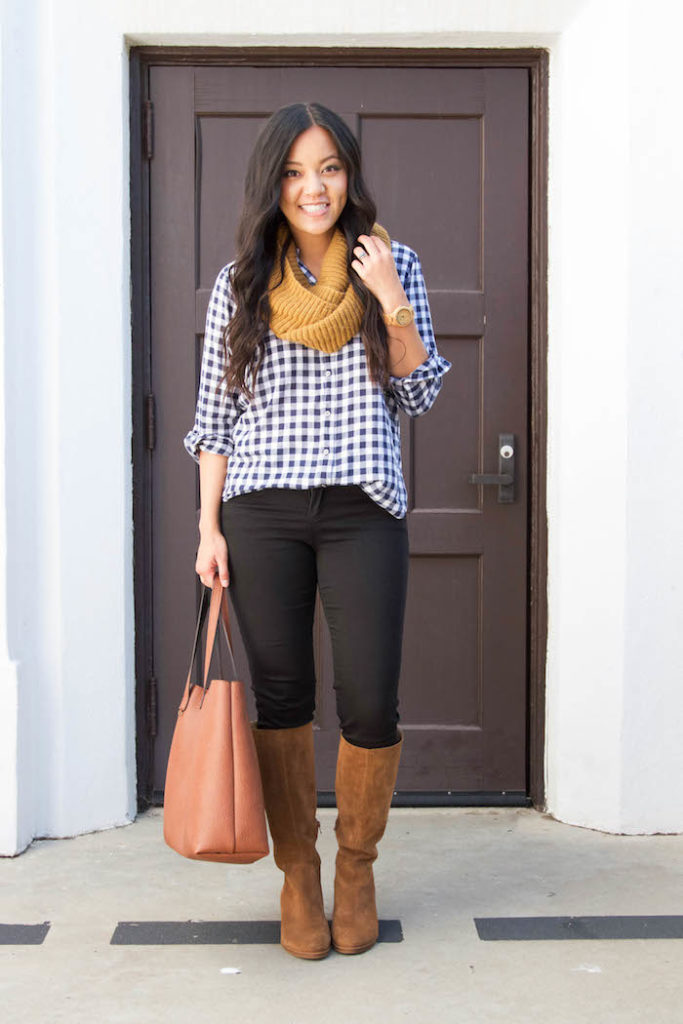 Gingham Button Up + Scarf + Black Skinnies + Riding Boots