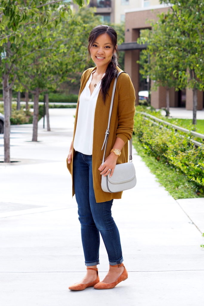 Jeans + Mustard Cardigan + Blouse + Flats