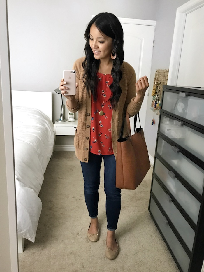 red floral top + tan cardigan + dark wash jeans + nude flats