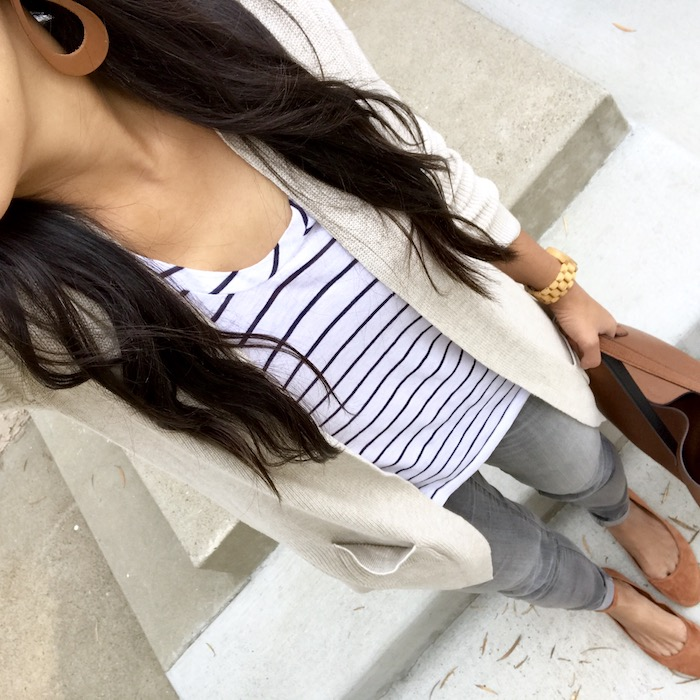 Oatmeal cardigan + black and white tee + gray jeans + flats
