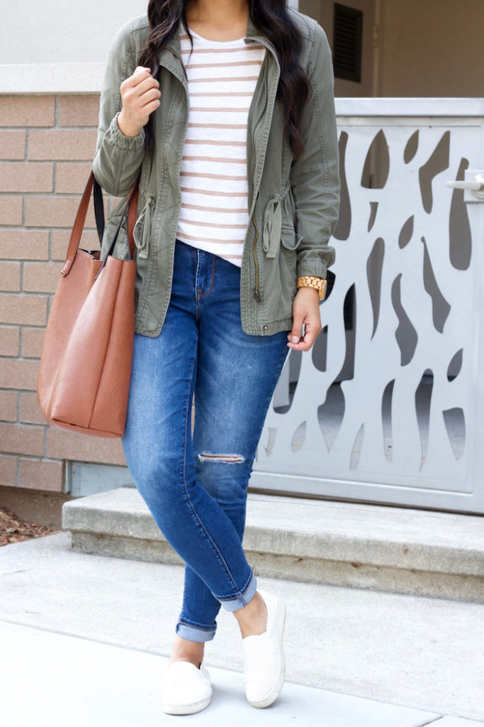 Jeans + Utility Jacket +Slip on sneakers + tee