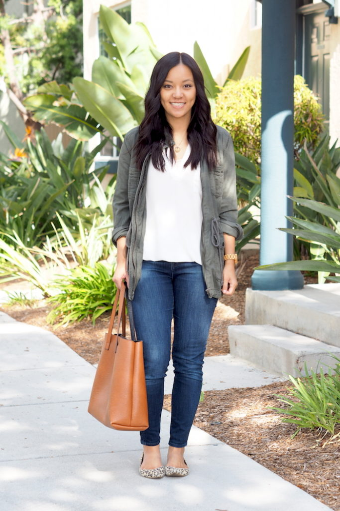 Green Jacket + White Blouse + Jeans + Leopard Flats