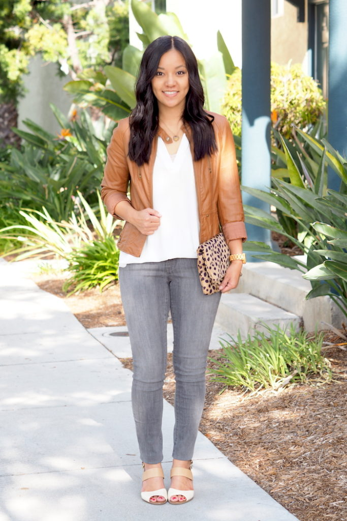 Camel jacket + gray jeans + white blouse + leopard bag