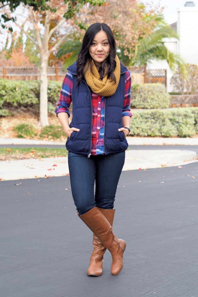Plaid button-up + Blue Vest + Mustard Scarf + Riding Boots