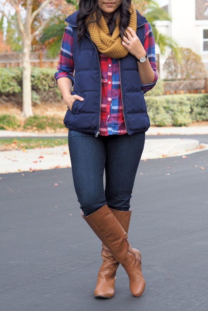 Blue Vest + Plaid Button + Dark Skinnies + Riding Boots + Mustard Scarf