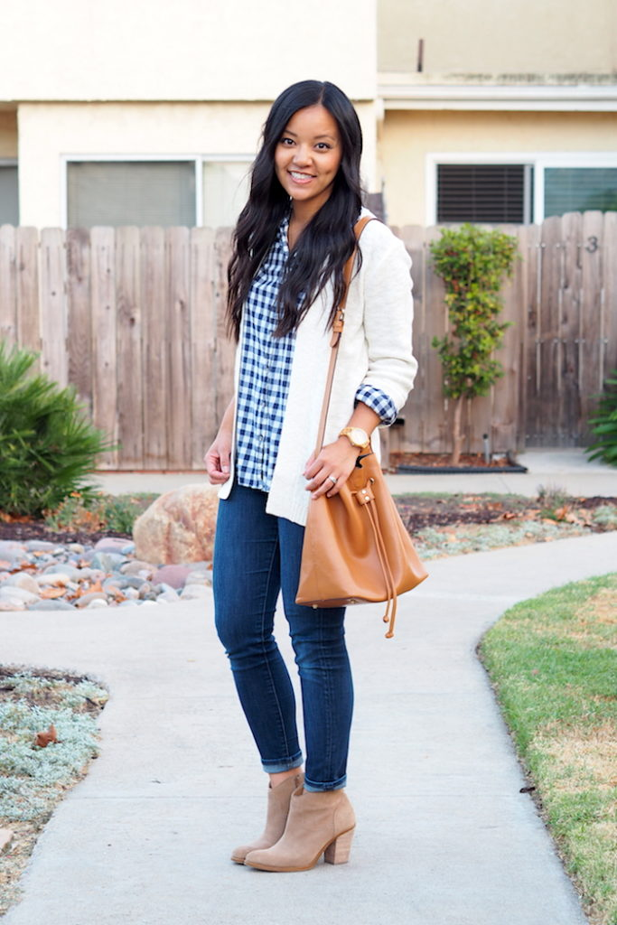 Skinnies + White Cardigan + Booties + Gingham Shirt