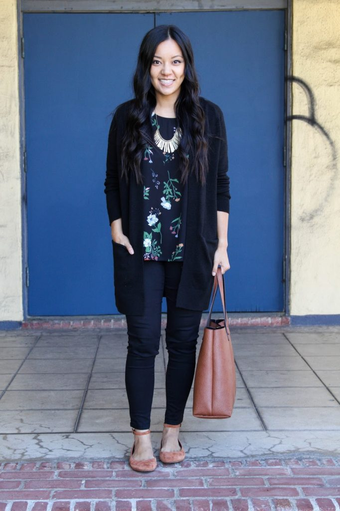 Floral Shirt + Black Cardigan + Black Skinnies + Red Flats + Statement Necklace