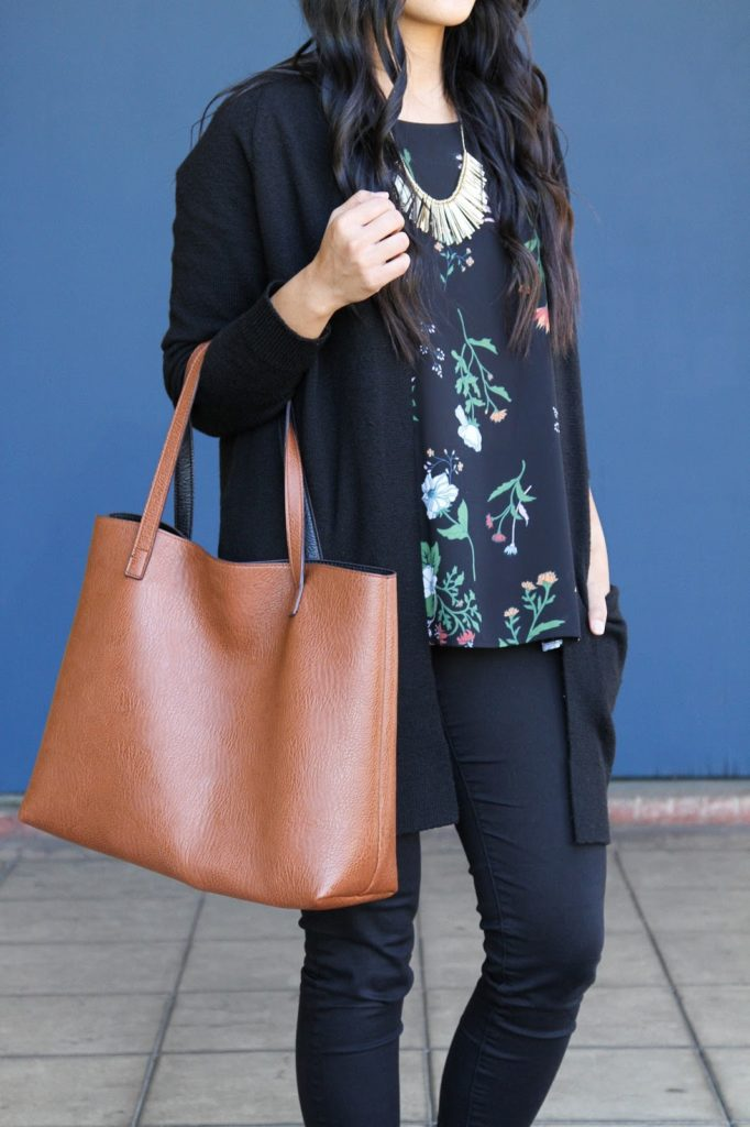 Brown Tote + Black Cardigan + Floral Shirt + Statement Necklace