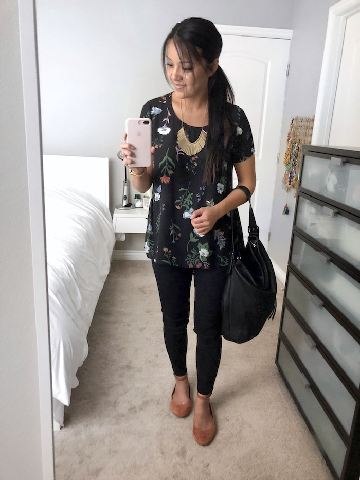Black Floral Blouse + Black Skinnies + Red Flats + Statement Necklace + Black Bucket Bag