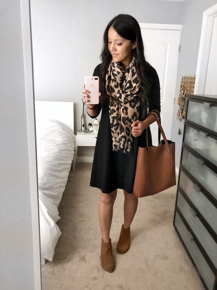 Black Swing Dress + Leopard Scarf + Brown Tote + Booties