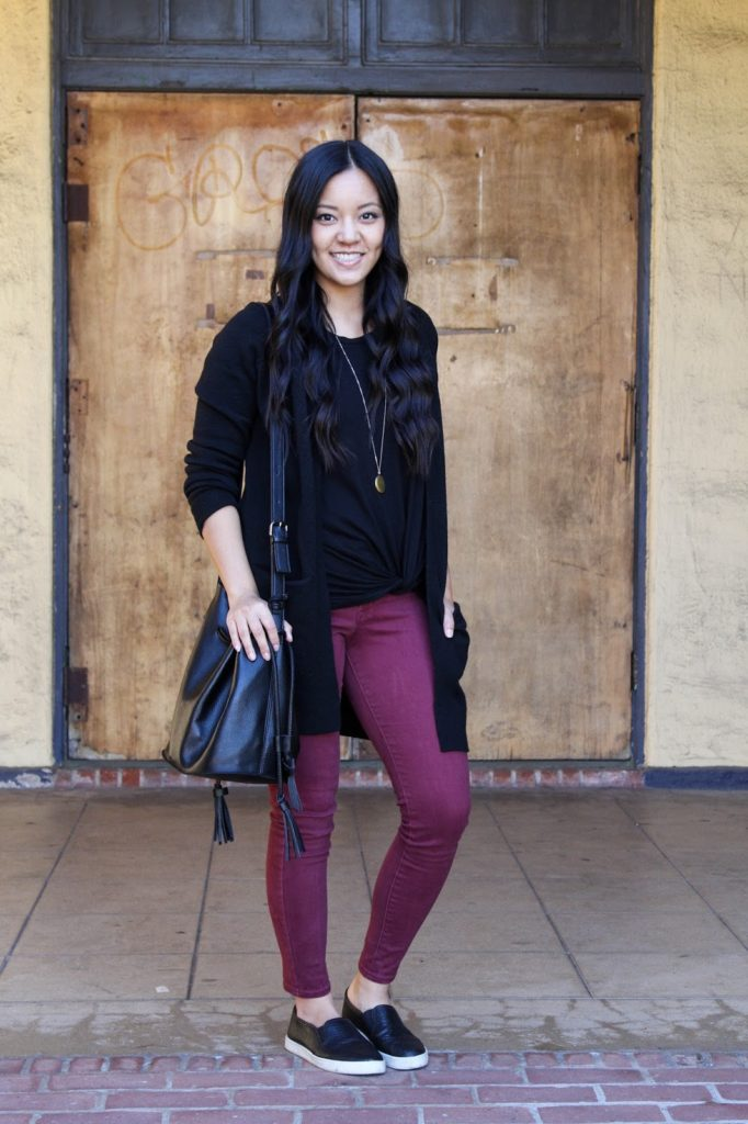 Black Twist Tee + Black Cardigan + Maroon Skinnies + Black Sneakers + Pendant Necklace