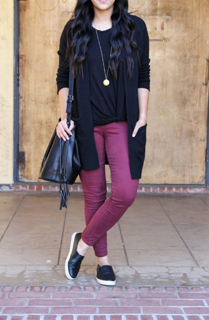 Maroon Skinnies + Black Twist Tee + Black Cardigan + Black Bucket Bag