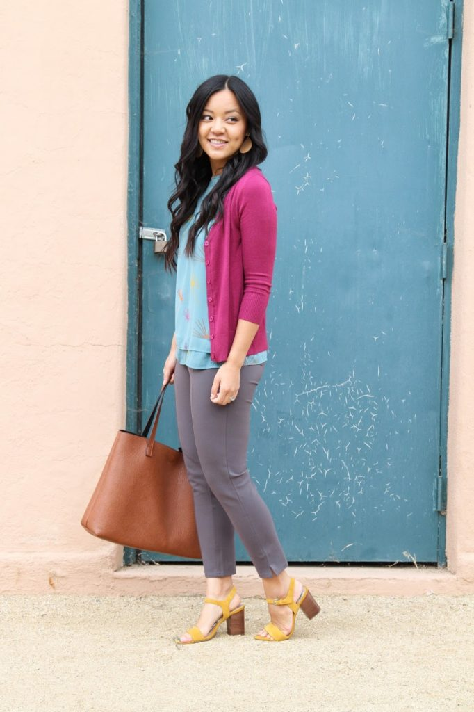 business casual outfit + Blue Printed Blouse + Pink Cardigan + Grey Pants + Brown Tote + Yellow Heels