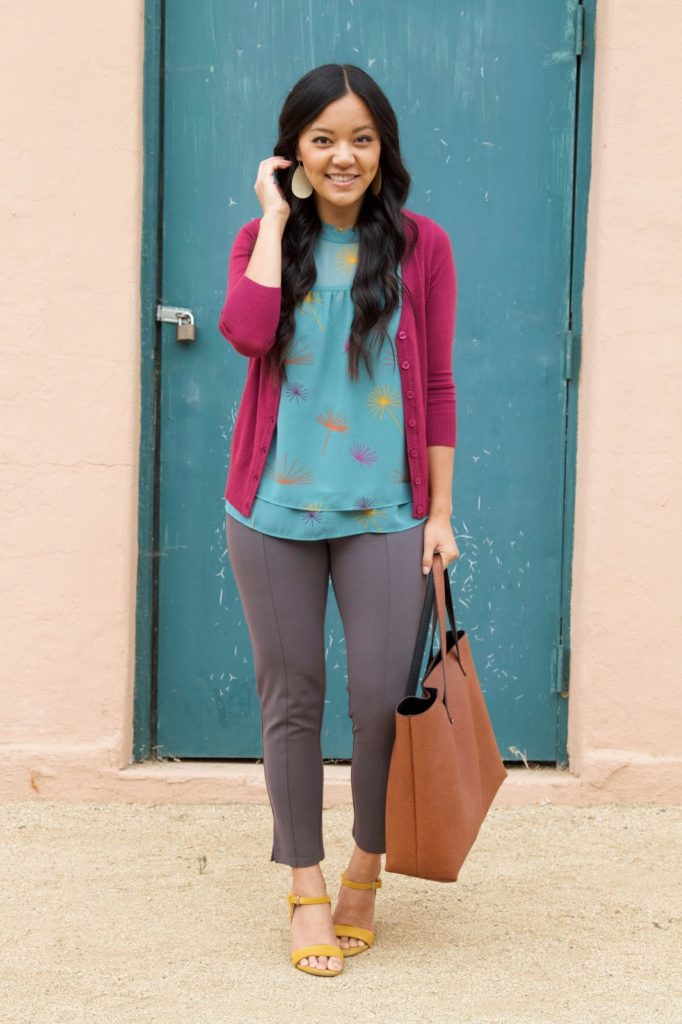 business casual outfit+ Pink Cardigan + Blue Blouse + Grey Pants + Yellow Heels + Brown Tote
