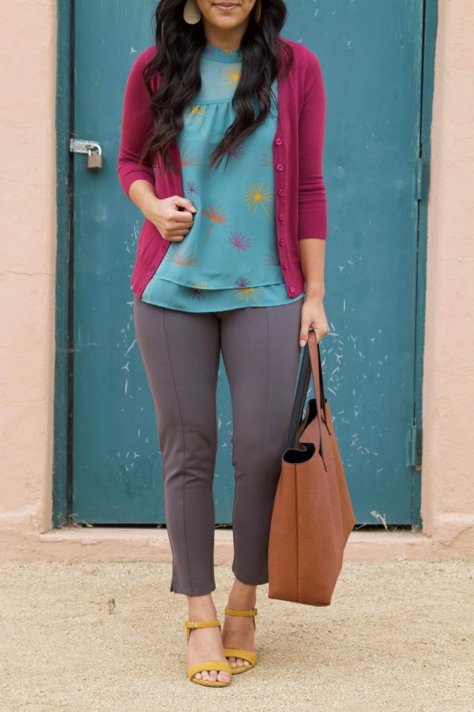 business casual outfit + Blue blouse + Brown Tote + Pink Cardigan + Grey Pants + Yellow Heels