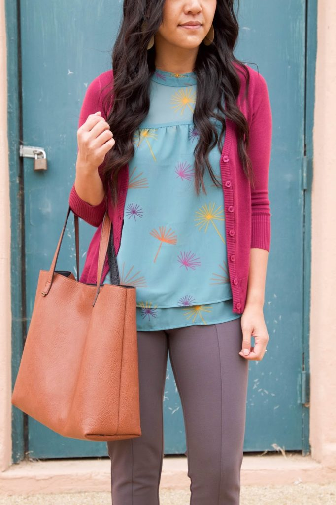 business casual outfit + Blue Blouse + Pink Cardigan + Brown Tote + Statement Earrings + Grey Pants