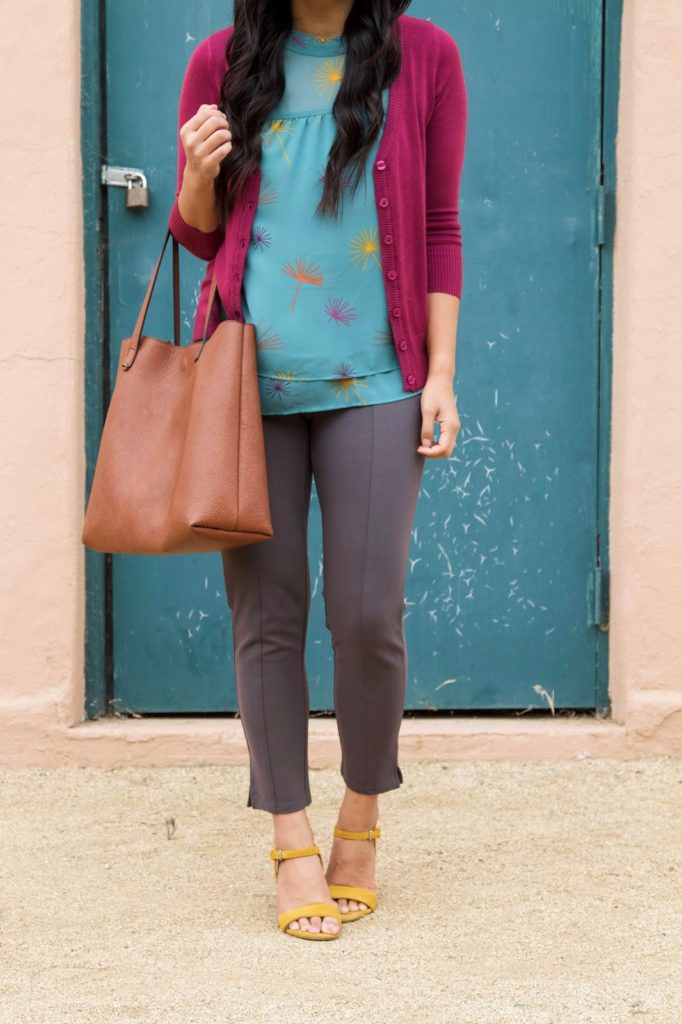 business casual outfit + Grey Pants + Yellow Heels + Pink Cardigan + Blue Blouse + Brown Tote