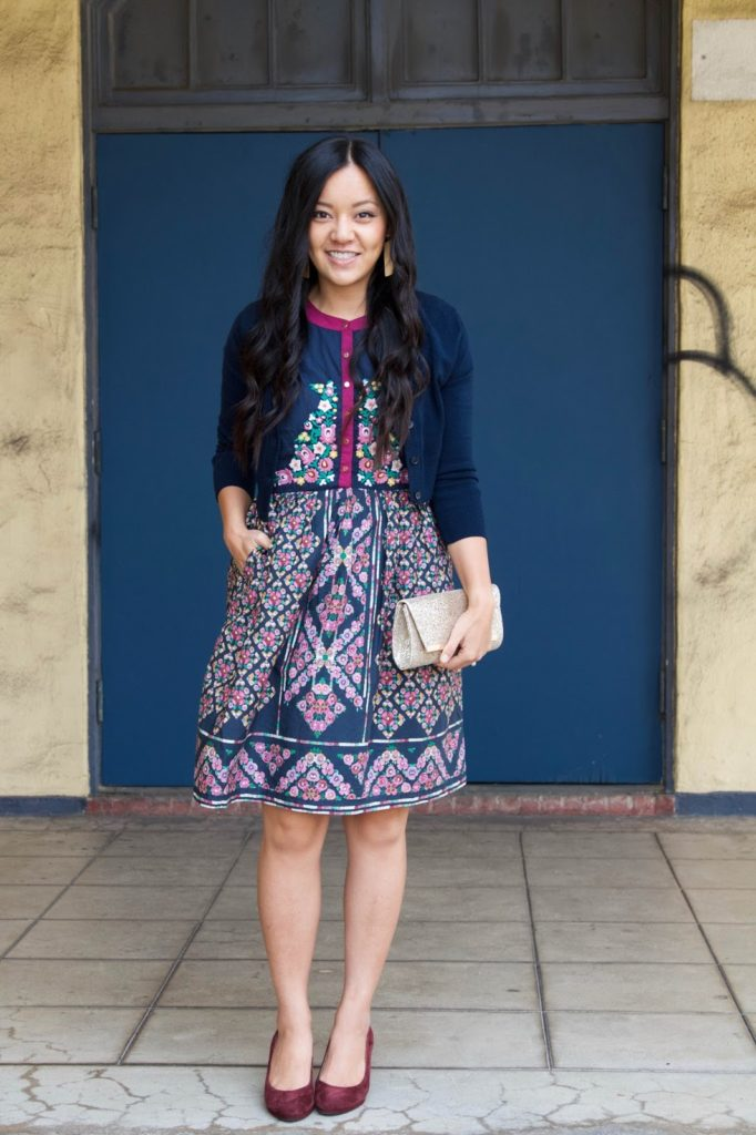 7f721fe9fa Blue Floral Dress + Navy Cardigan + Gold Clutch + Gold Earrings + Maroon  Pumps