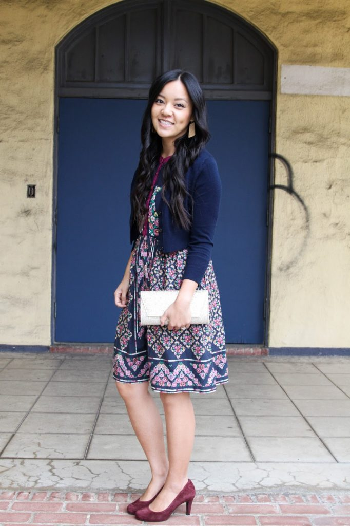 Gold Earrings Navy Cardigan Floral Dress Maroon Pumps Clutch
