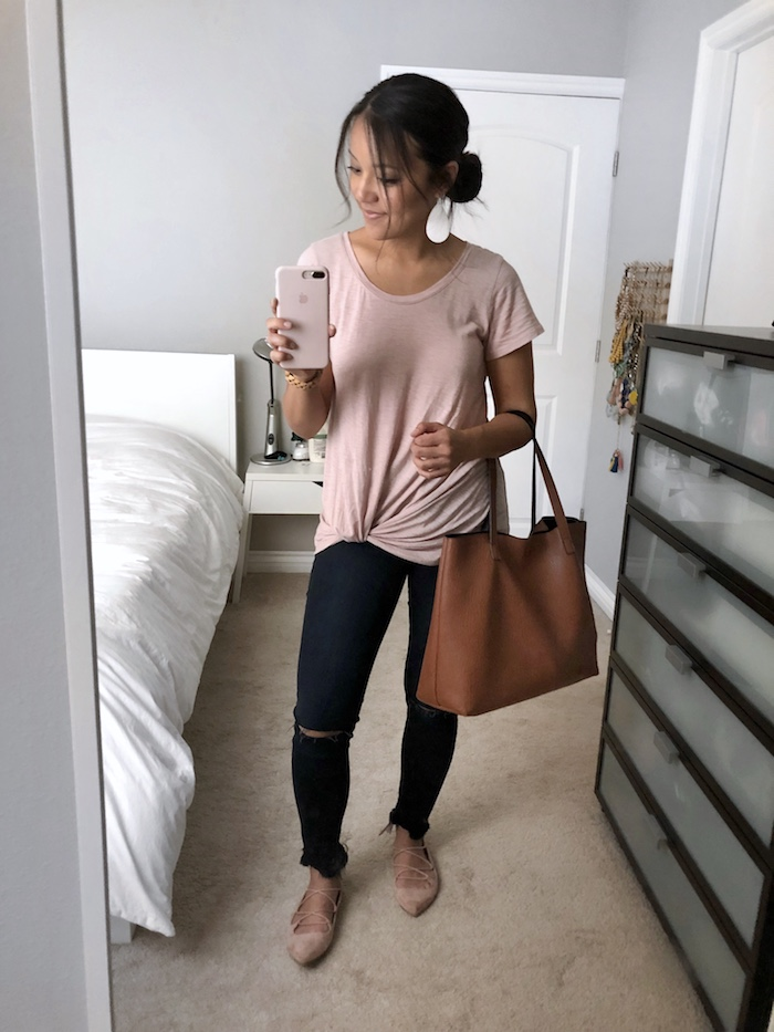 Blush Twist Tee + Frayed Jeans + Lace Up Flats + Tan Tote