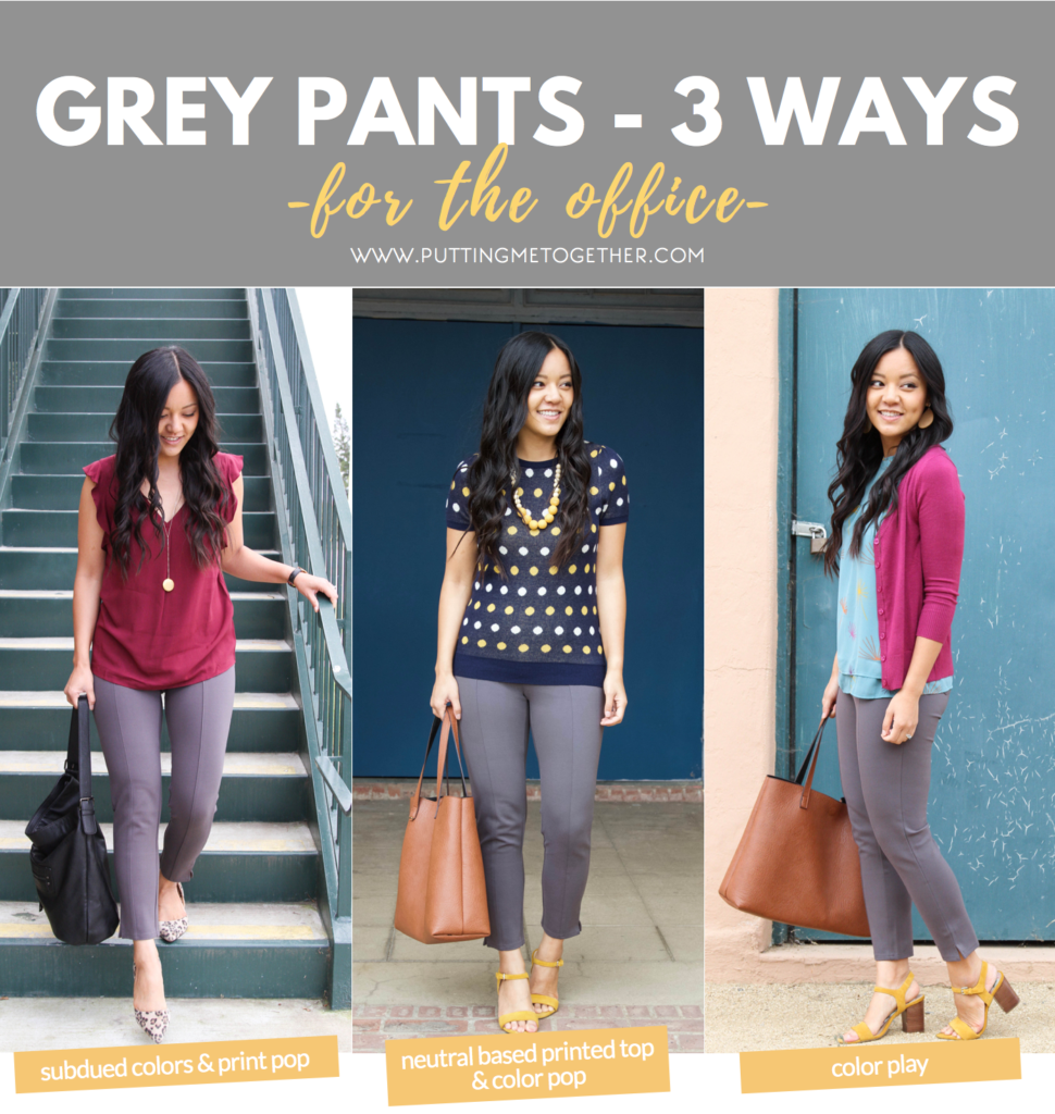 860d28fde60 3 Ways to Wear Grey Pants to the Office - Putting Me Together