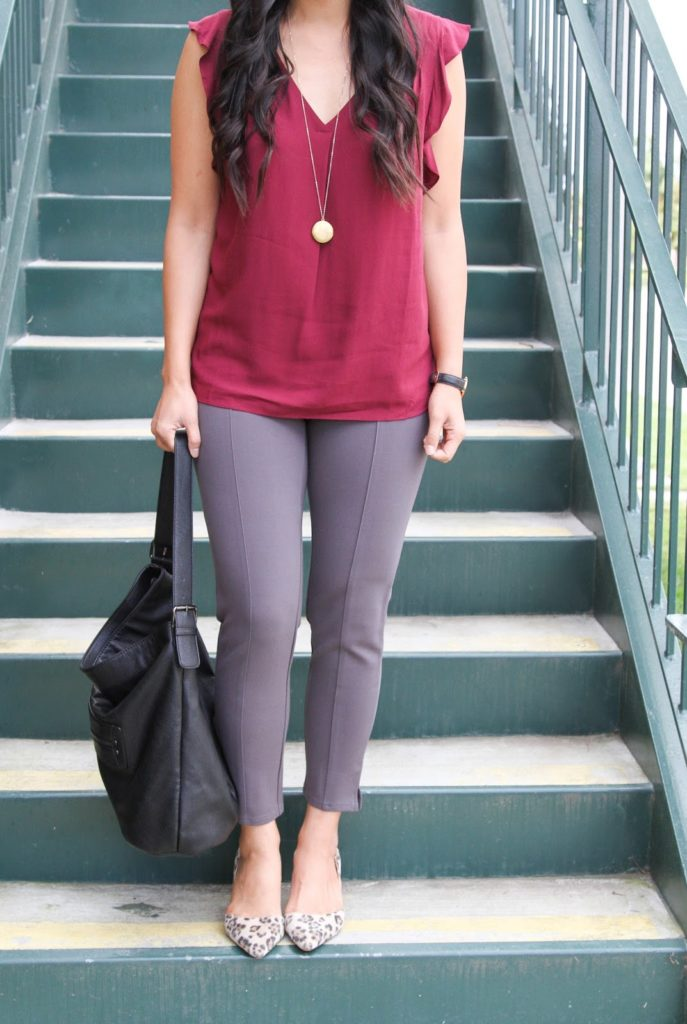 business casual outfit + Maroon Blouse + Grey Pants + Black Purse + Gold Pendant Necklace + Leopard Heels