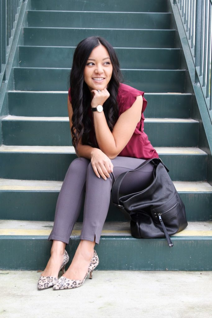 business casual outfit + Grey Pants + Maroon Blouse + Black Watch + Black Purse + Leopard Heels