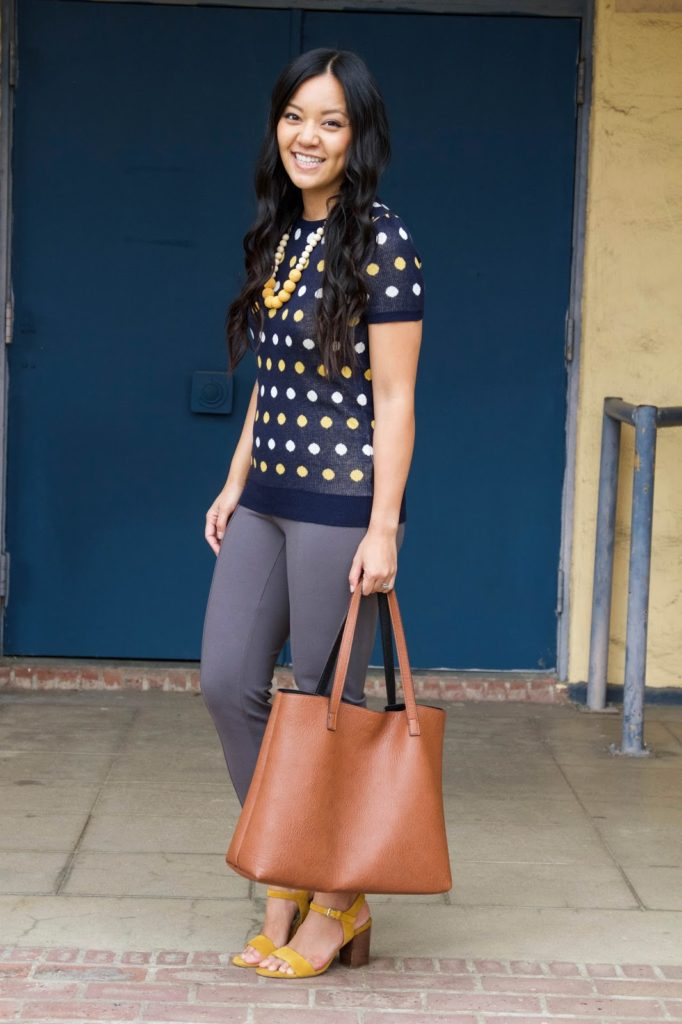 business casual outfit + Grey Pants + Polka Dot Sweater + Statement Necklace + Brown Tote + Yellow Heels