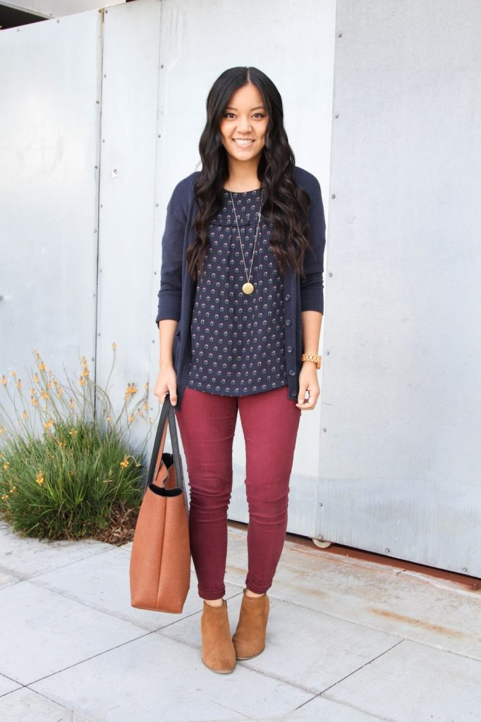 Blue Cardigan + Pendant Necklace + Blue Floral blouse + Maroon Skinnies
