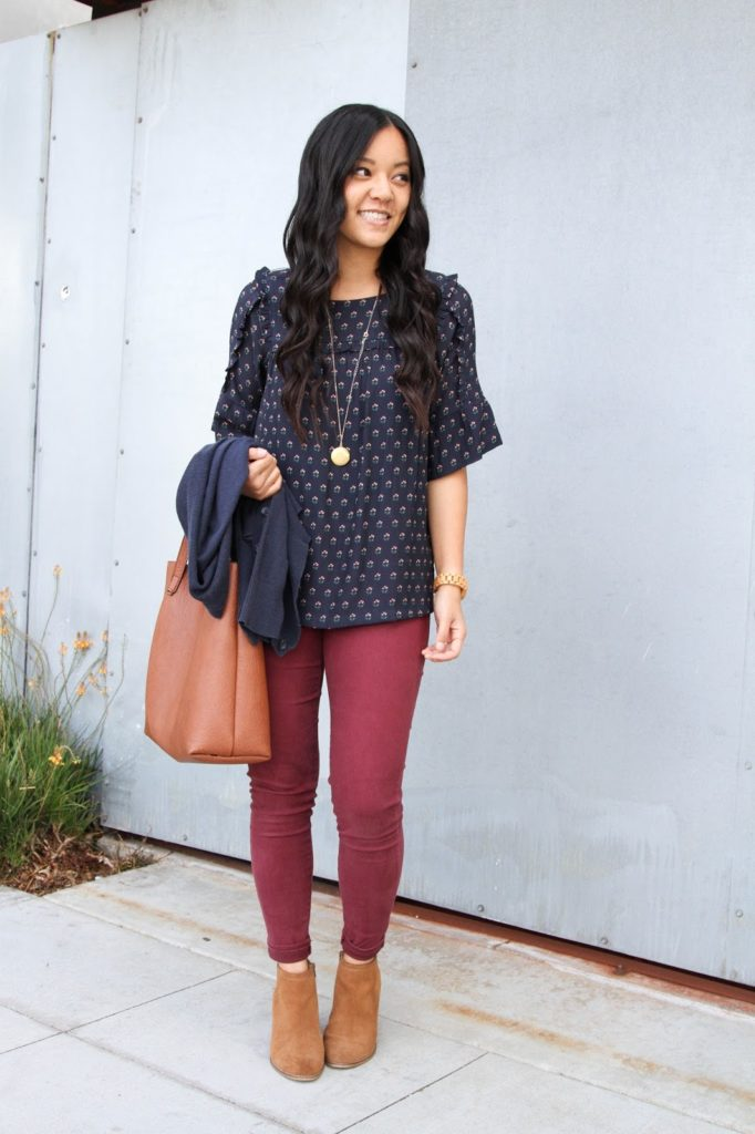 Blue Floral Blouse + Maroon Jeans + Cognac Booties + Pendant Necklace