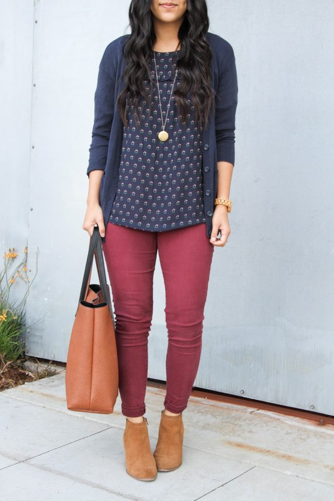 Maroon Skinnies + Blue Floral Blouse + Navy Cardigan + Tote + Booties