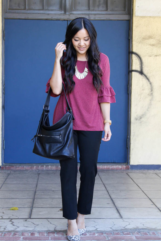 Black Pants + Maroon Bell Sleeves + Black Bucket Bag + Jord Watch + Leopard Shoes