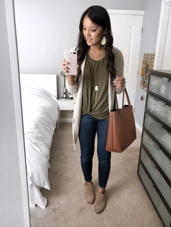 Tan Cardigan + Olive Twist Tee + Tote Bag + Skinnies + Booties