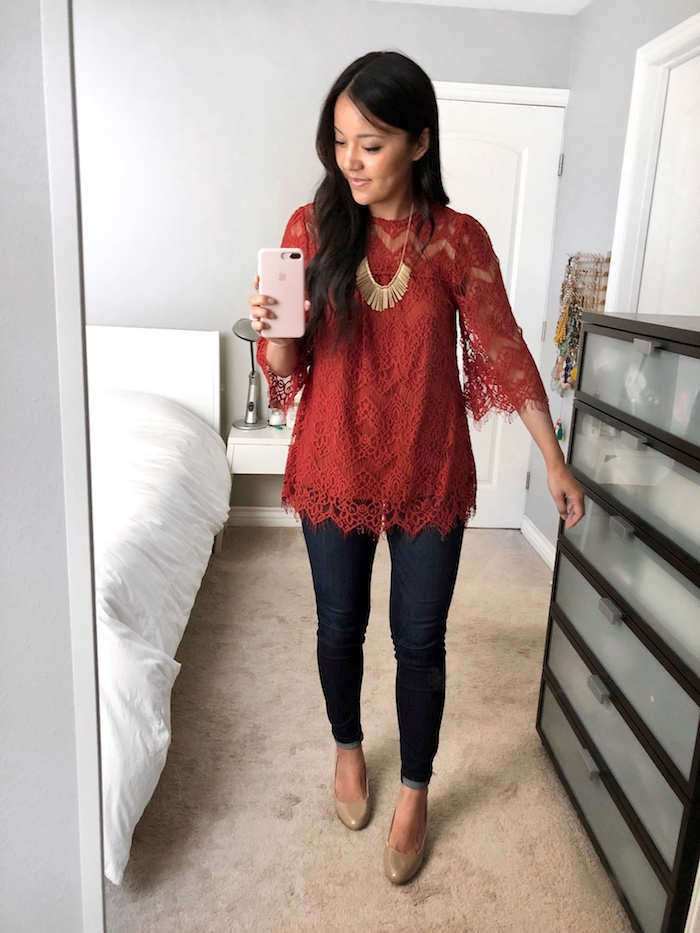 Lace Blouse + Gold Statement Necklace + Skinnies + Nude Pumps