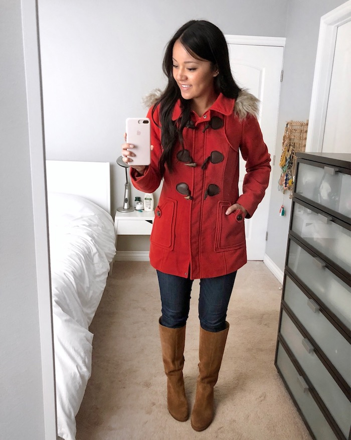 Red-Orange Coat + Skinnies + Riding Boots