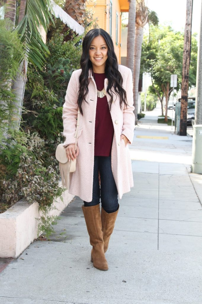 Twead Jacket + Maroon Tunic + Skinnies + Statement Necklace + Riding Boots