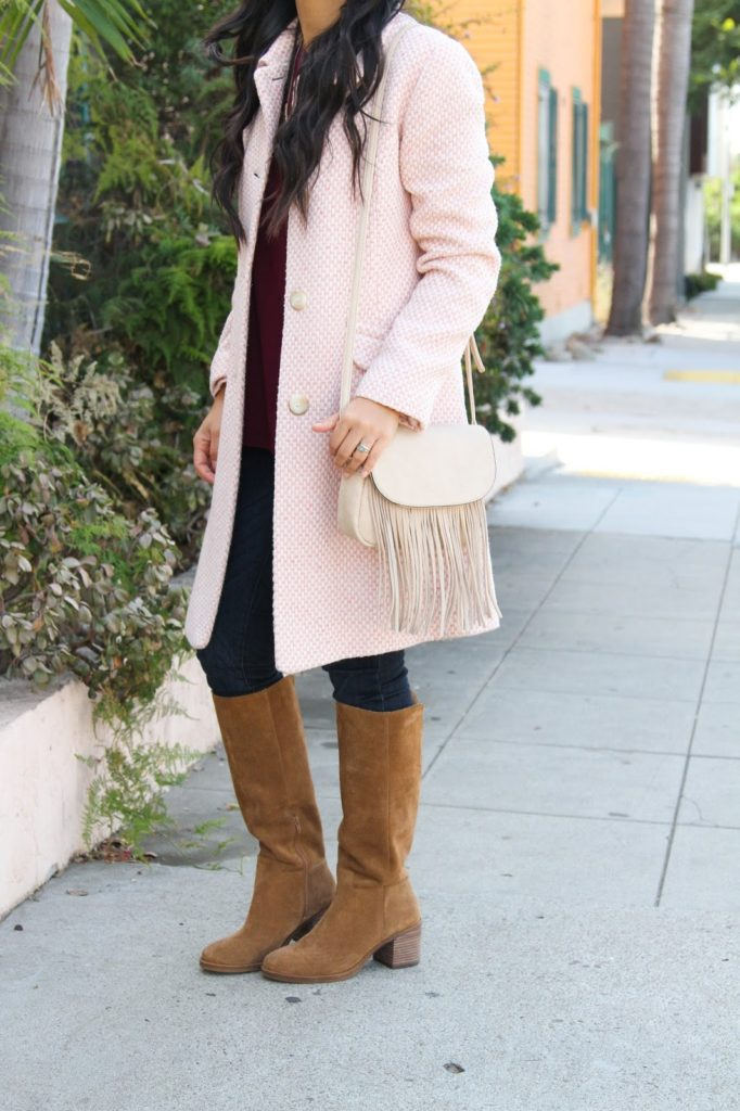Skinnies + Fringe Purse + Riding Boots + Tweed Jacket + Maroon Tunic